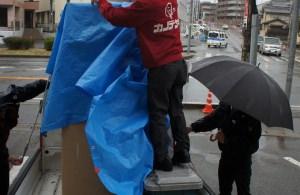 雨の中の配達